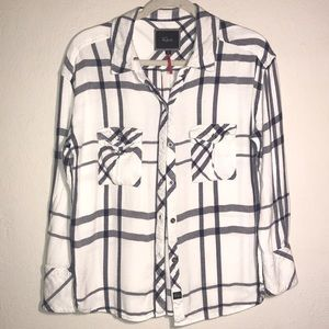 Rails for free people blue and white button up
